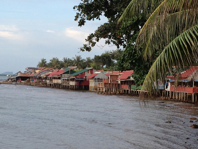 Row of small restaurants along the seafront in Kep.