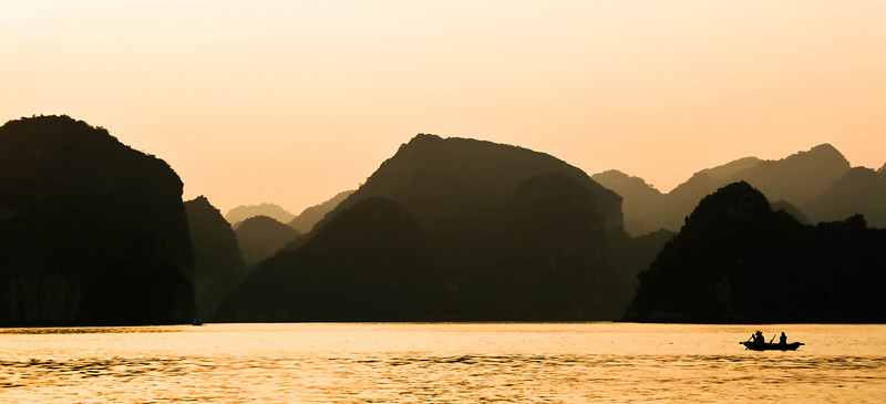 Sunset on Ha Long Bay, Vietnam.