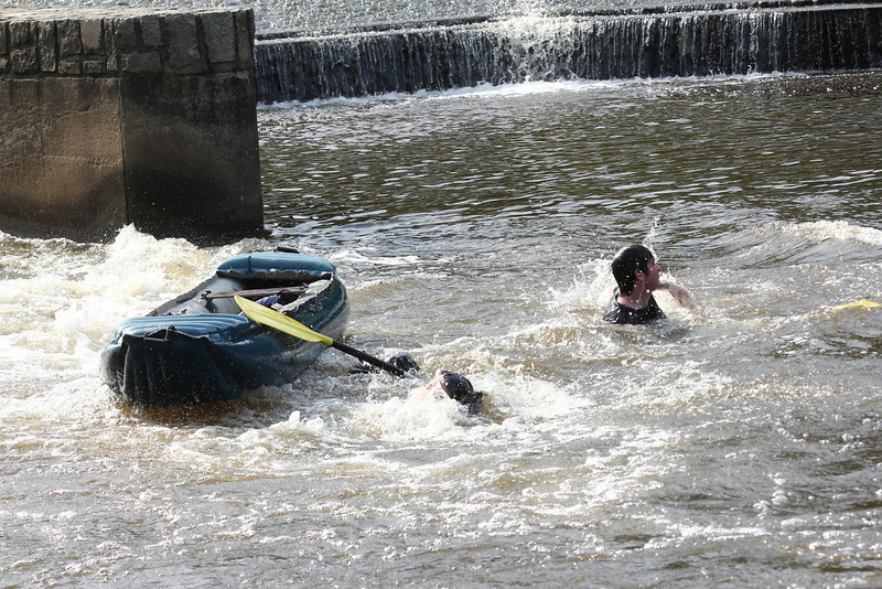 Overturned canoe in the Vltava River.