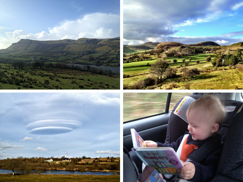 Benbulben Mountain in Sligo, Ireland, a baby reading, and a lenticular cloud.