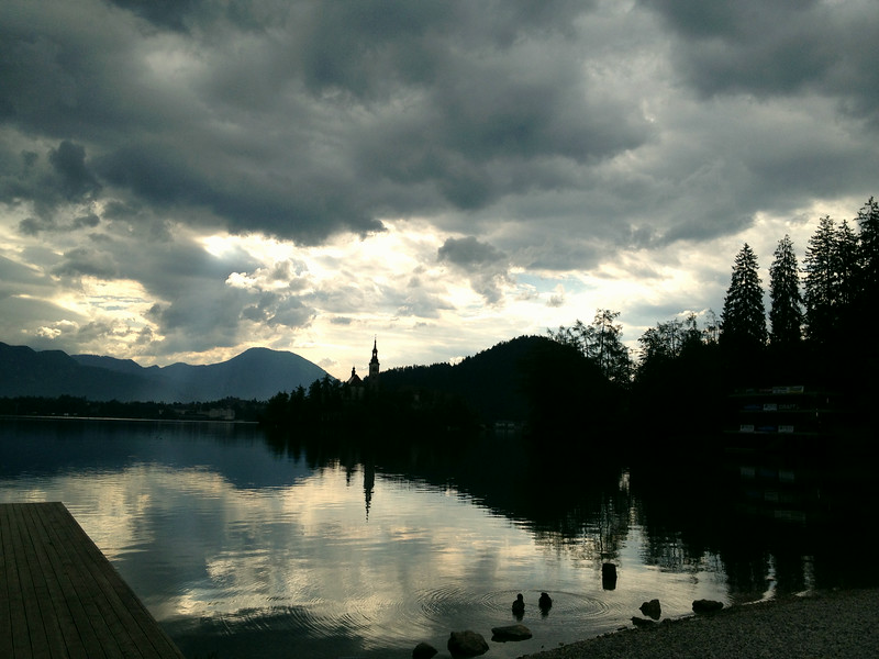 Lake Bled, Slovenia with the island church in the distance.