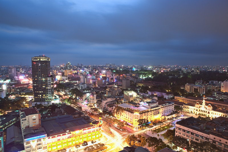 Ho Chi Minh City at dusk.
