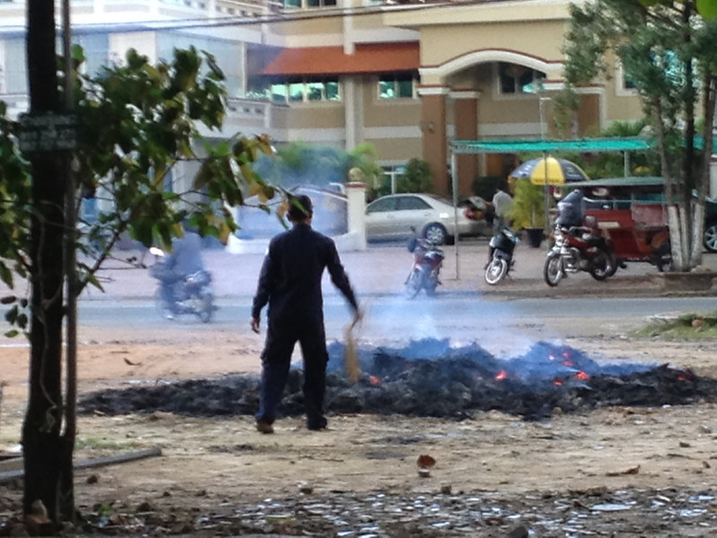 Pile of burning trash in Sihanoukville.