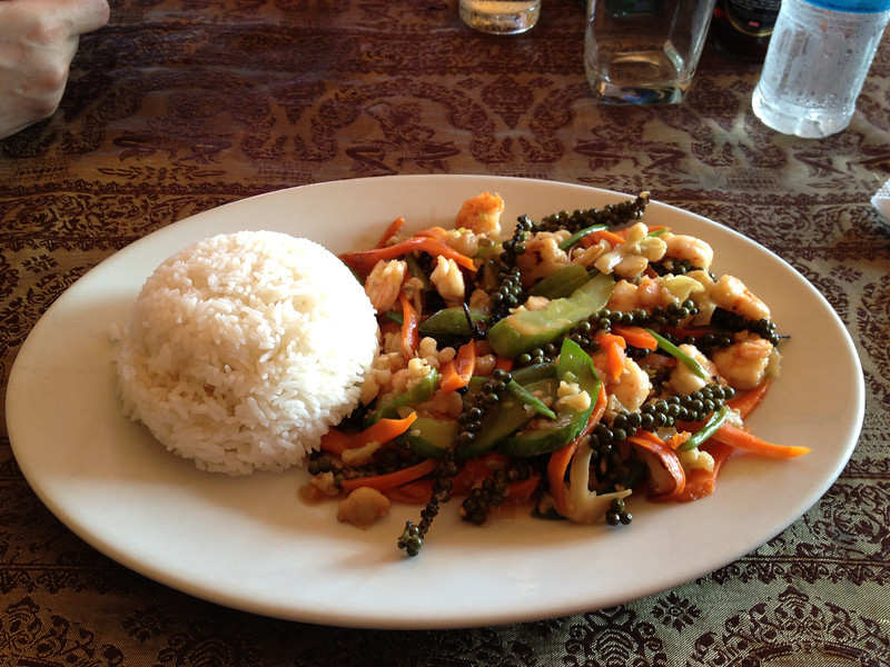 Mixed vegetables and shrimp with Kampot pepper.