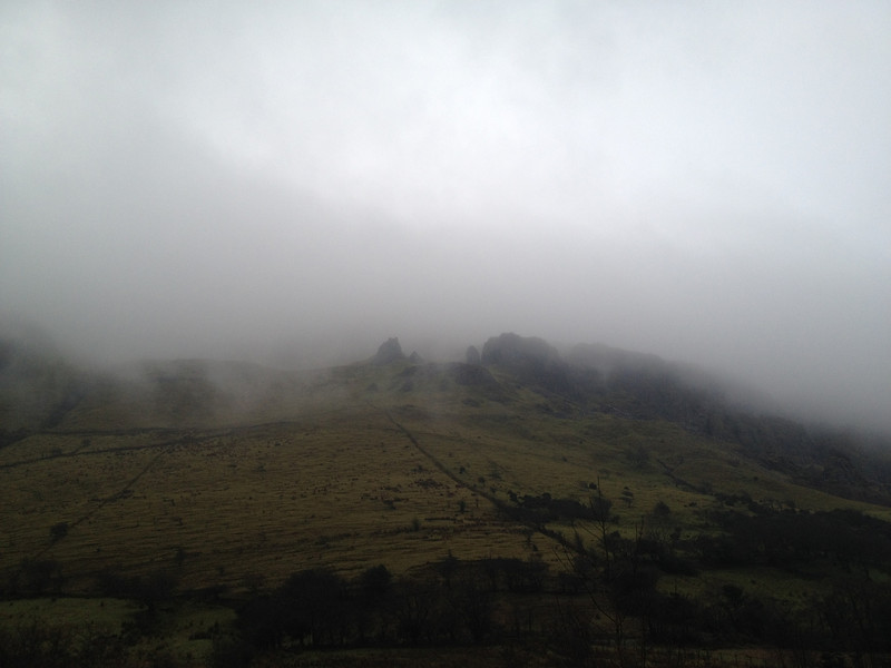 mountain in the mist and rain