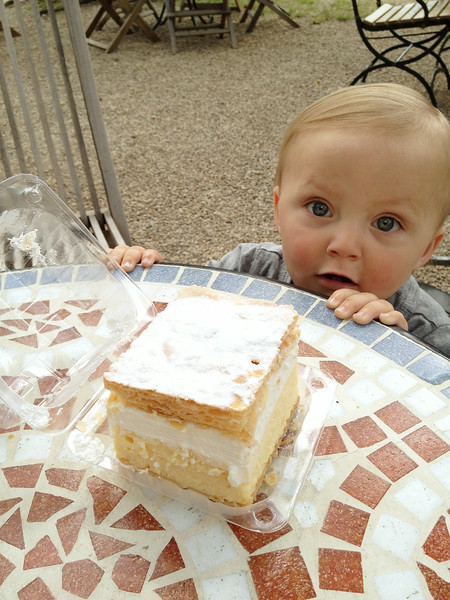 Baby looking at a large slice of cream cake.